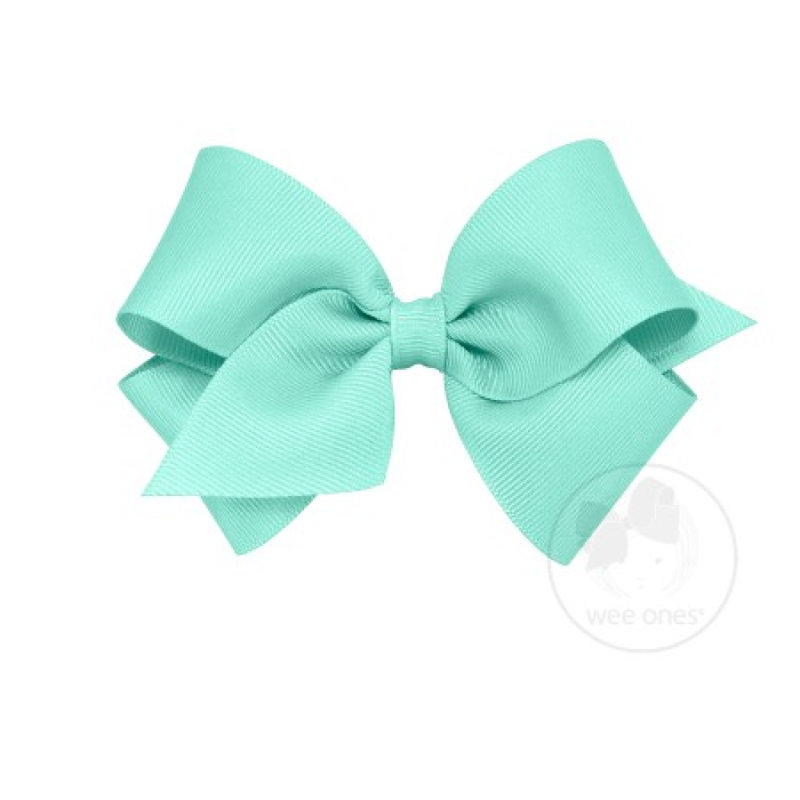 Wee Ones Bows Wee Ones New Aqua Solid Grosgrain Bow