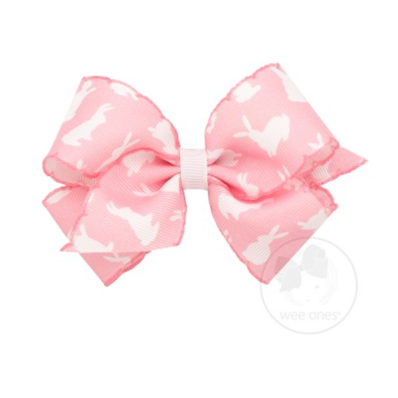 Wee Ones Bows Wee Ones Pink Bunny Print Stitched Edge Bow