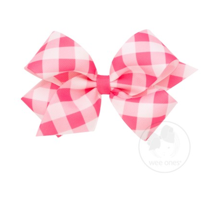 Wee Ones Bows Wee Ones Hot Pink Jumbo Check Bow