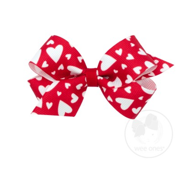 Wee Ones Bows Wee Ones Red/White Valentine Heart Print Bow