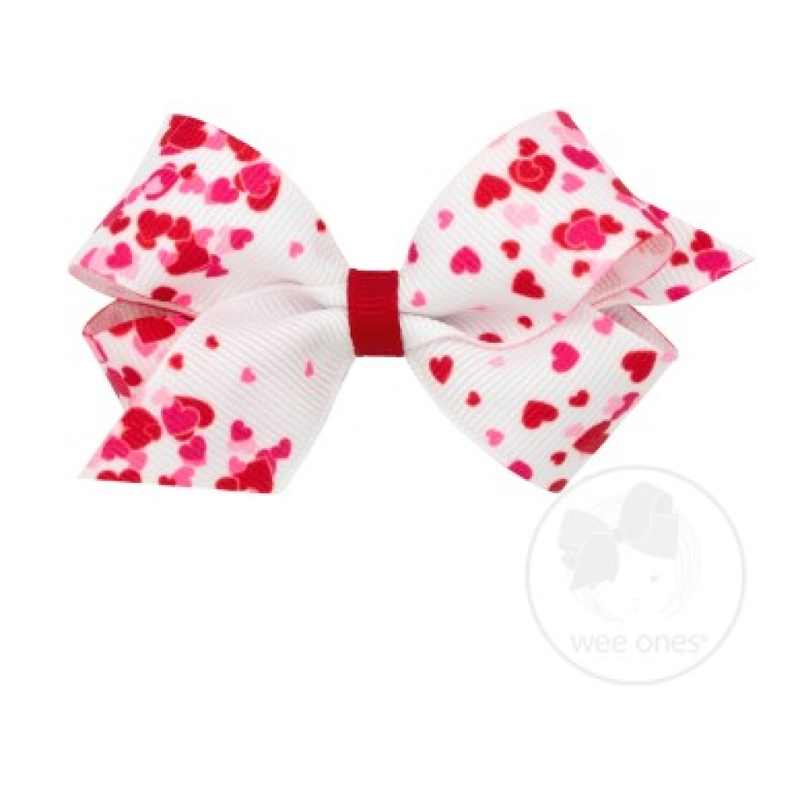 Wee Ones Bows Wee Ones White/Red Valentine Heart Print Bow