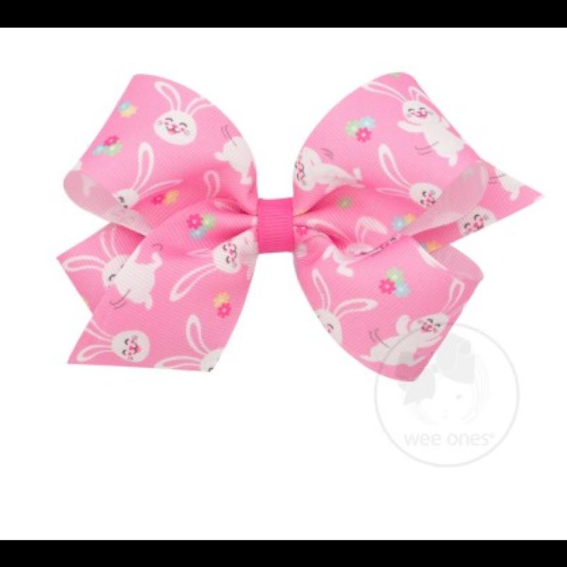 Wee Ones Bows Wee Ones Pink Easter Bunny Print Grosgrain Bow