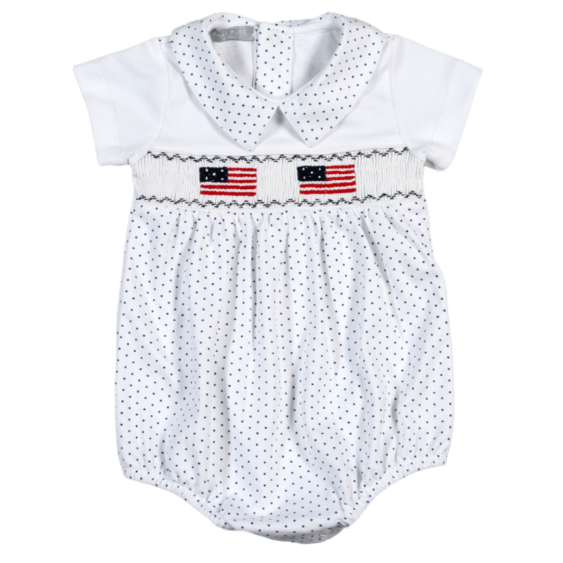 Baby Bliss Boy American Flag Smocked Bubble