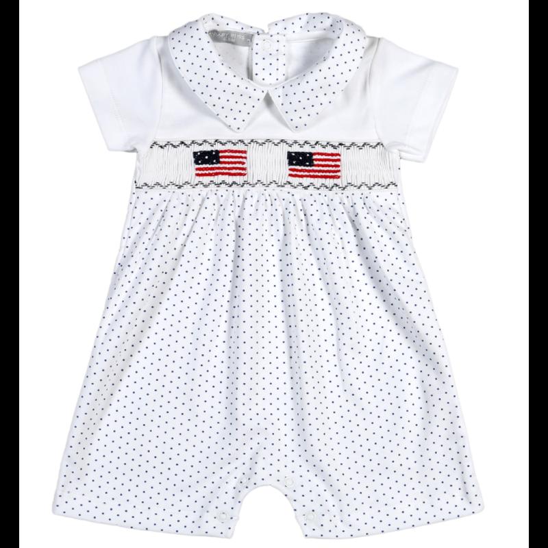 Baby Bliss American Flag Smocked Romper