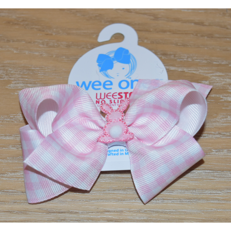 Wee Ones Bows Wee Ones Gingham Stripe Cottontail Bow