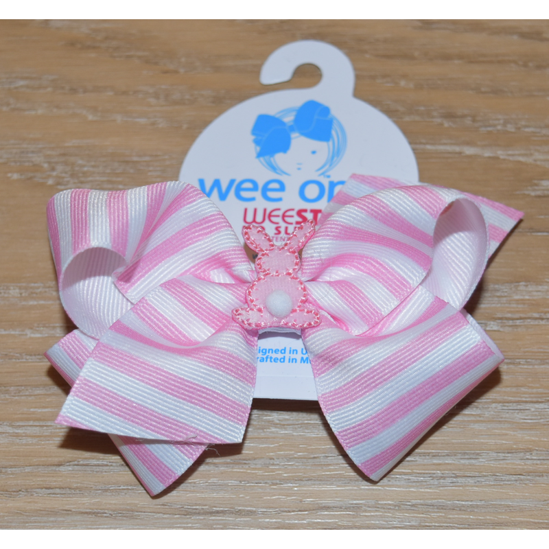 Wee Ones Bows Wee Ones Wide Stripe Cottontail Bow
