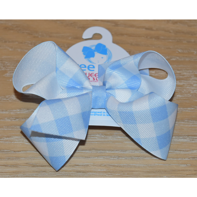 Wee Ones Bows Wee Ones Millenium Blue Jumbo Check Bow