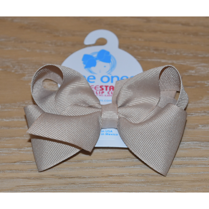 Wee Ones Bows Wee Ones Oatmeal Solid Grosgrain Bow