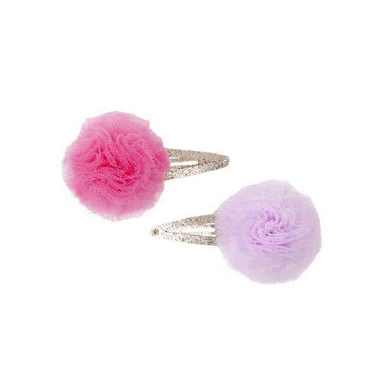 Great Pretenders Great Pretenders Posy Puff Lavender/Hot Pink Snap Clips