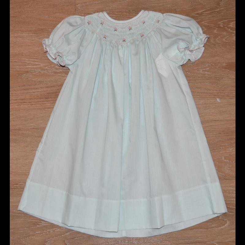 Lulu Bebe Lulu Bebe Emma Pastel Mint SS Smocked Bishop Dress