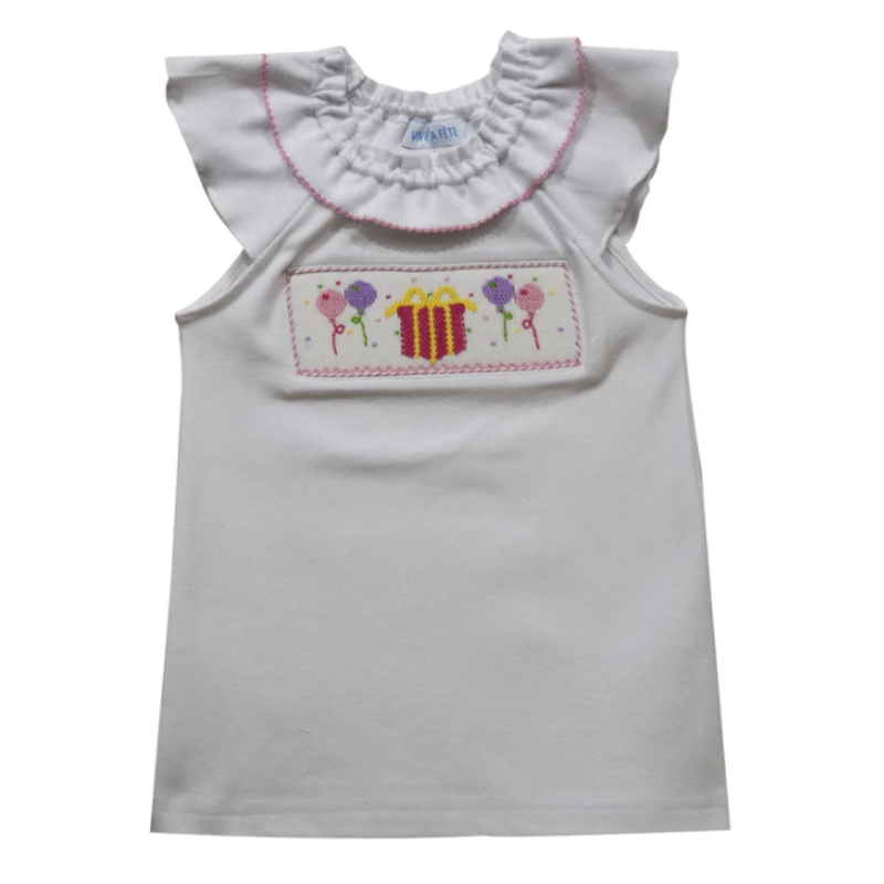 Vive La Fete Vive La Fete Girl's Smocked Birthday Top