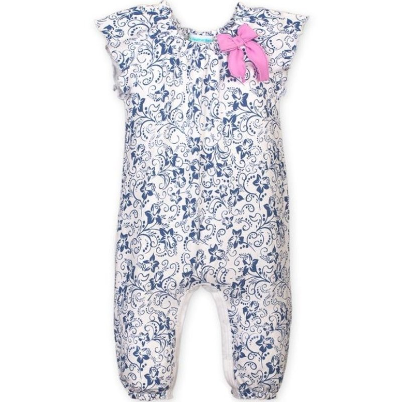 Feather Baby Feather Baby Indigo Daffodil Bow Romper
