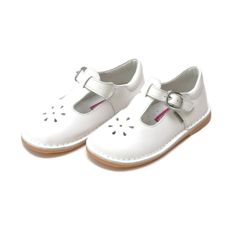 L'Amour L'Amour Joy Classic White Leather T-Strap Mary Jane