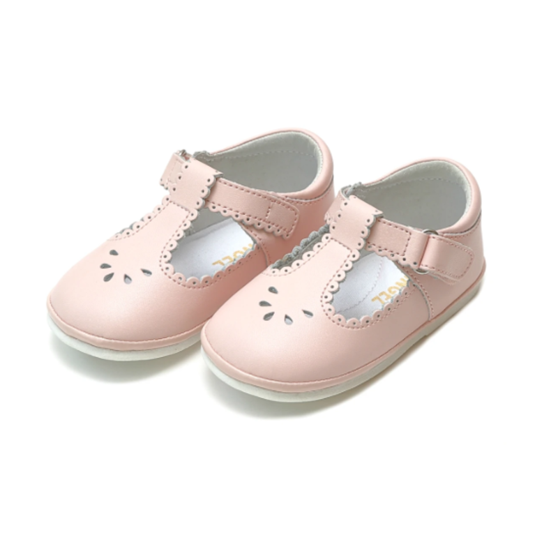 L'Amour L'Amour Dottie Scalloped Pink T-Strap Mary Jane