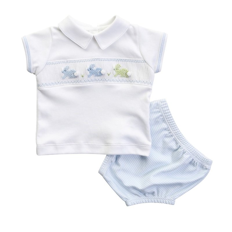 Magnolia Baby Magnolia Baby Easter Bunny Blue Smocked Diaper Cover Set