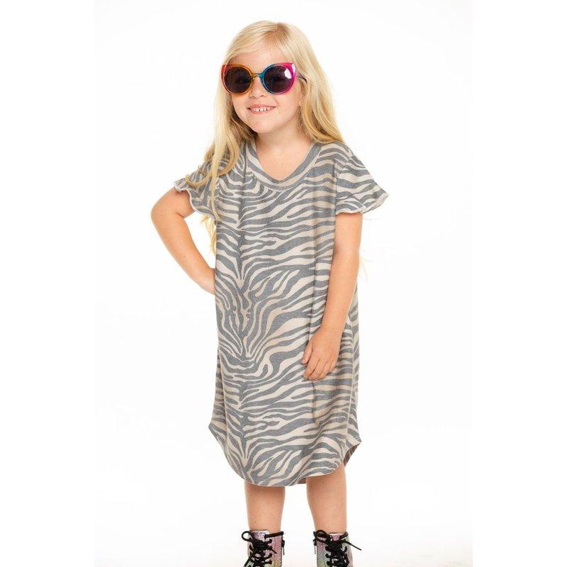 Chaser Ruffle SS Shirttail Zebra Stripe Mini Dress