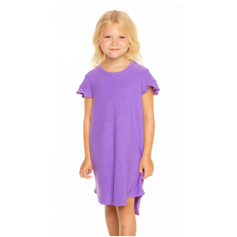 Chaser Ruffle SS Shirttail Purple Mini Dress