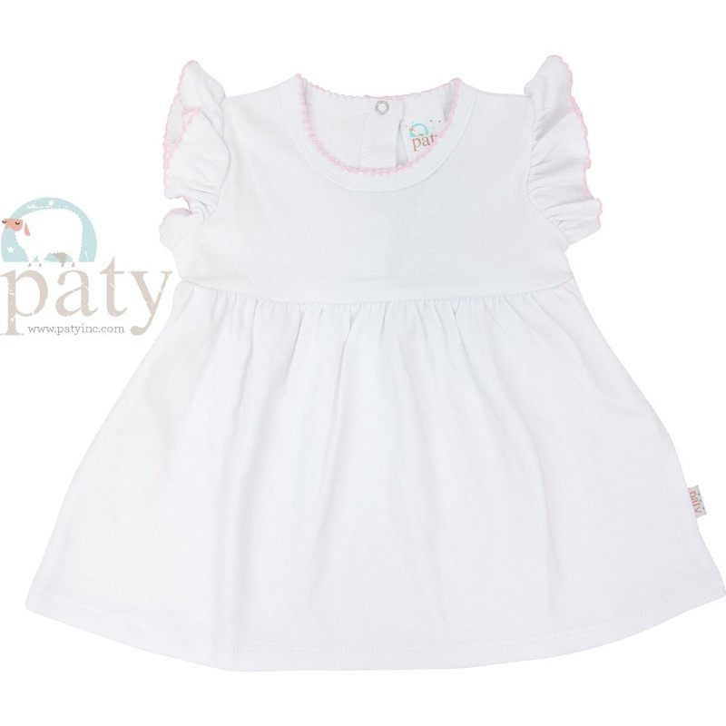 Paty Paty White w/Pink Picot Ruffle Sleeve Dress