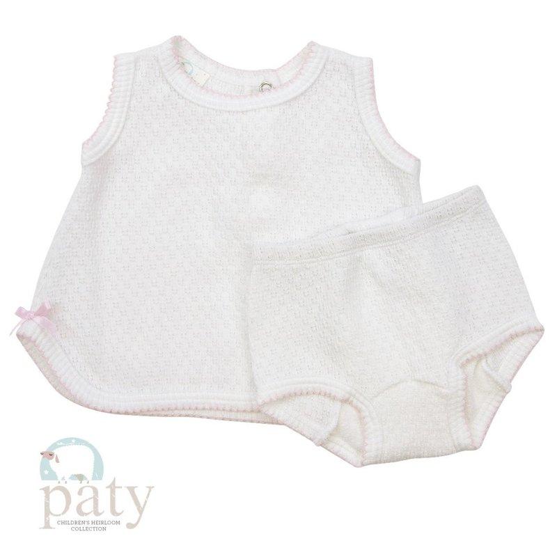 Paty Paty White/Pink Sleeveless Top w/Bloomer Set