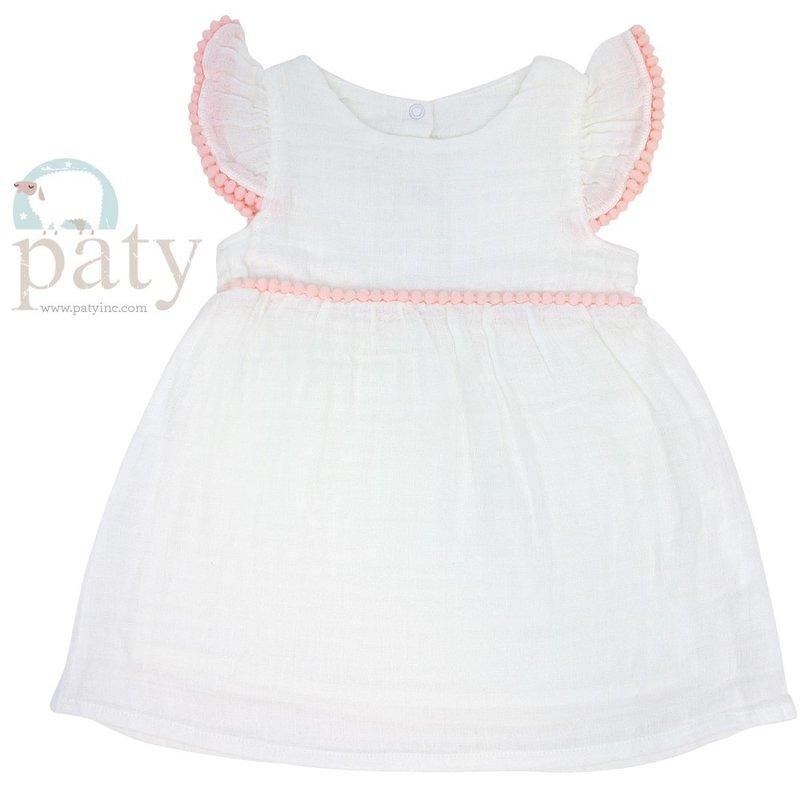 Paty Paty White Dress w/Pink Pom Pom Trim