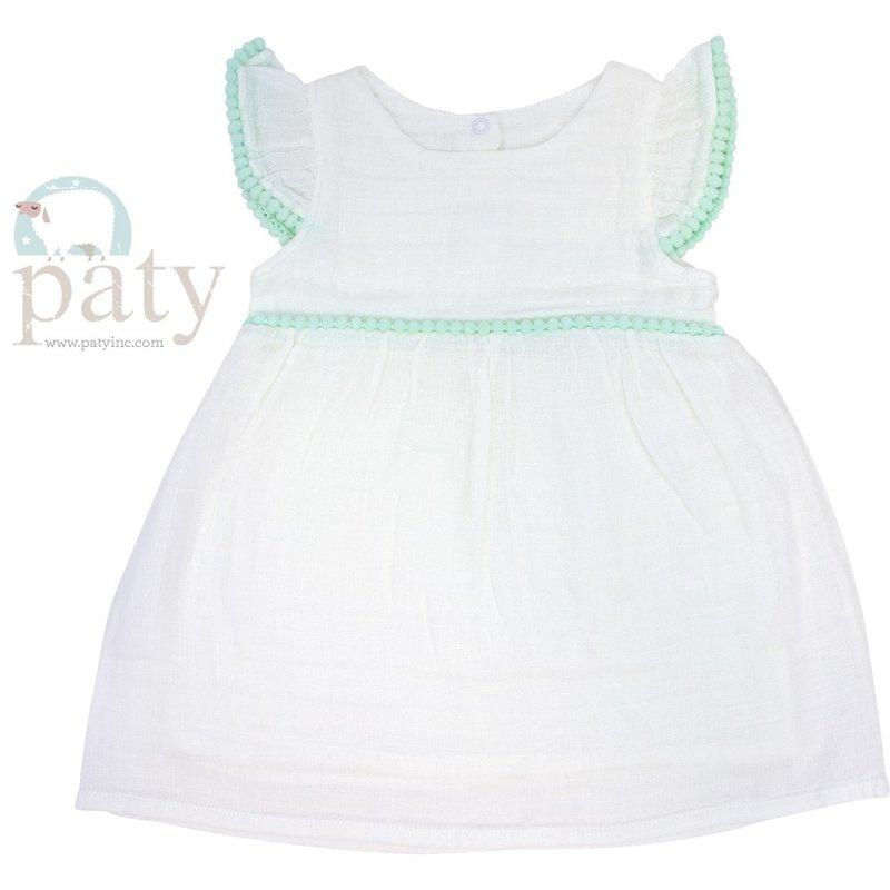 Paty Paty White Dress w/Mint Pom Pom Trim