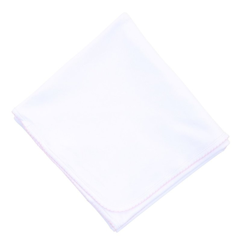 Magnolia Baby Magnolia Baby Essentials White w/Pink Blanket