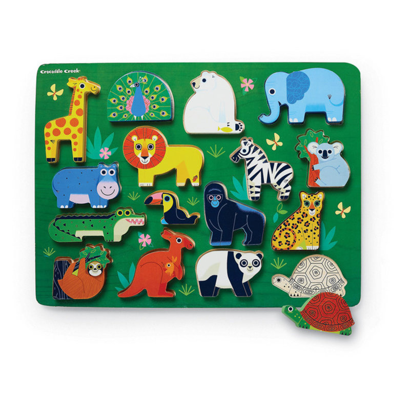 Crocodile Creek Let's Play Zoo 16 PC Wood Puzzle