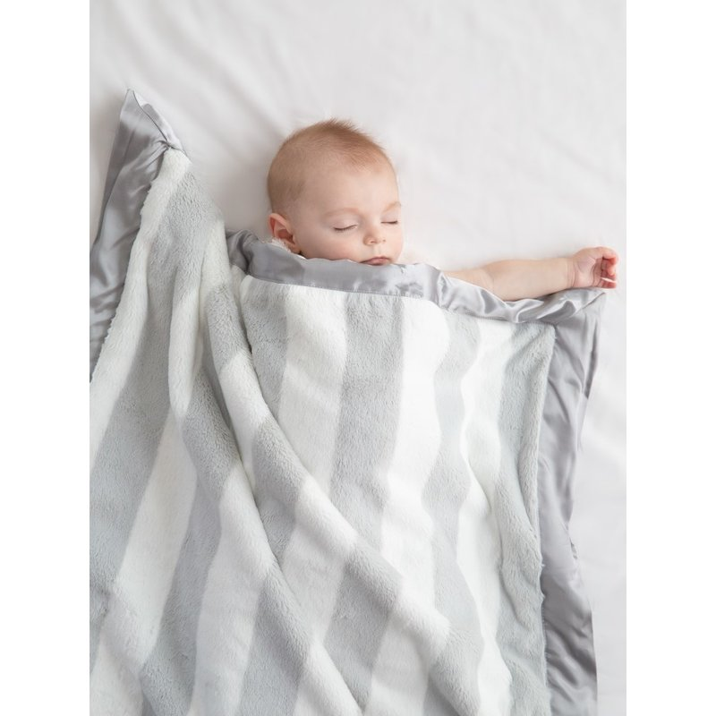 Little Giraffe Luxe Hamptons Silver Stripe Blanket