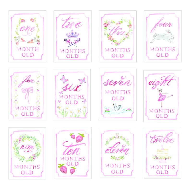 Over the Moon Pink Monthly Cards