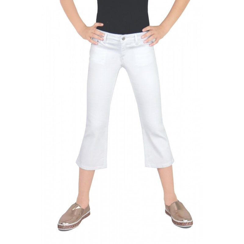 Tractr Tractr Girls Crop Flare White Jeans