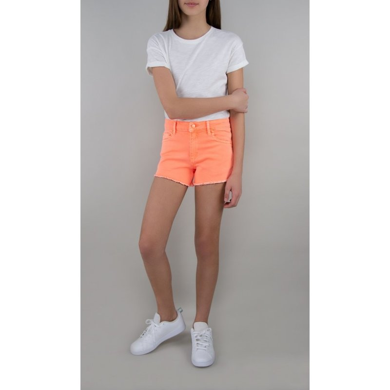 Tractr Tractr Brittany Fray Hem Shorts - Neon Orange