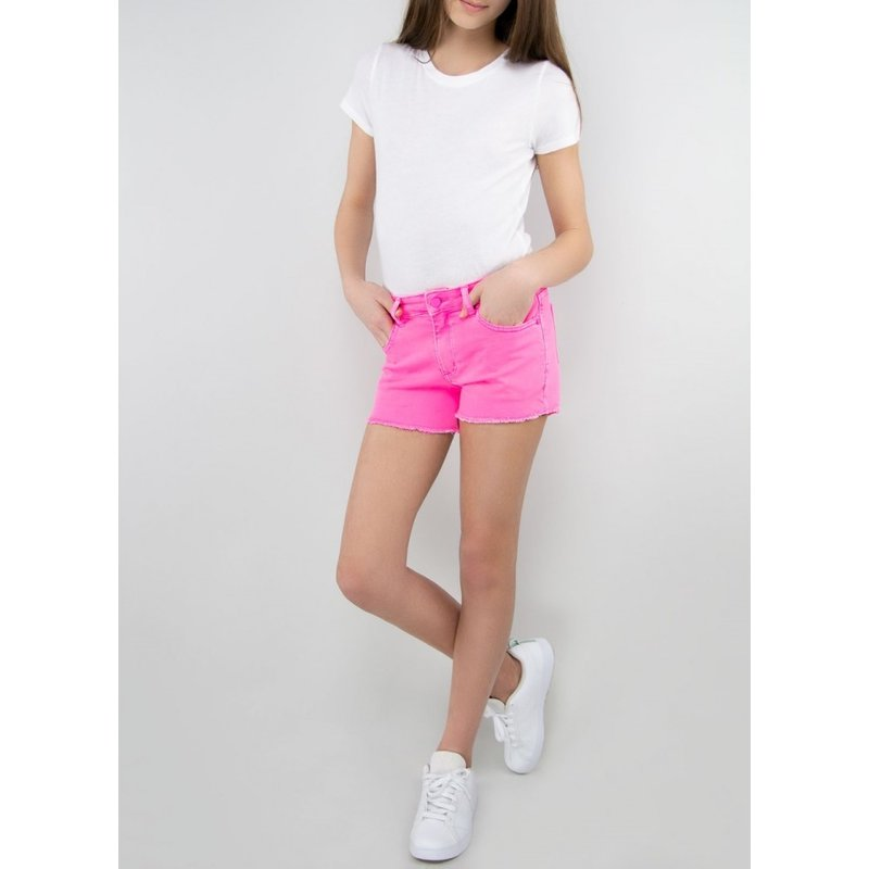 Tractr Tractr Brittany Fray Hem Shorts - Neon Pink