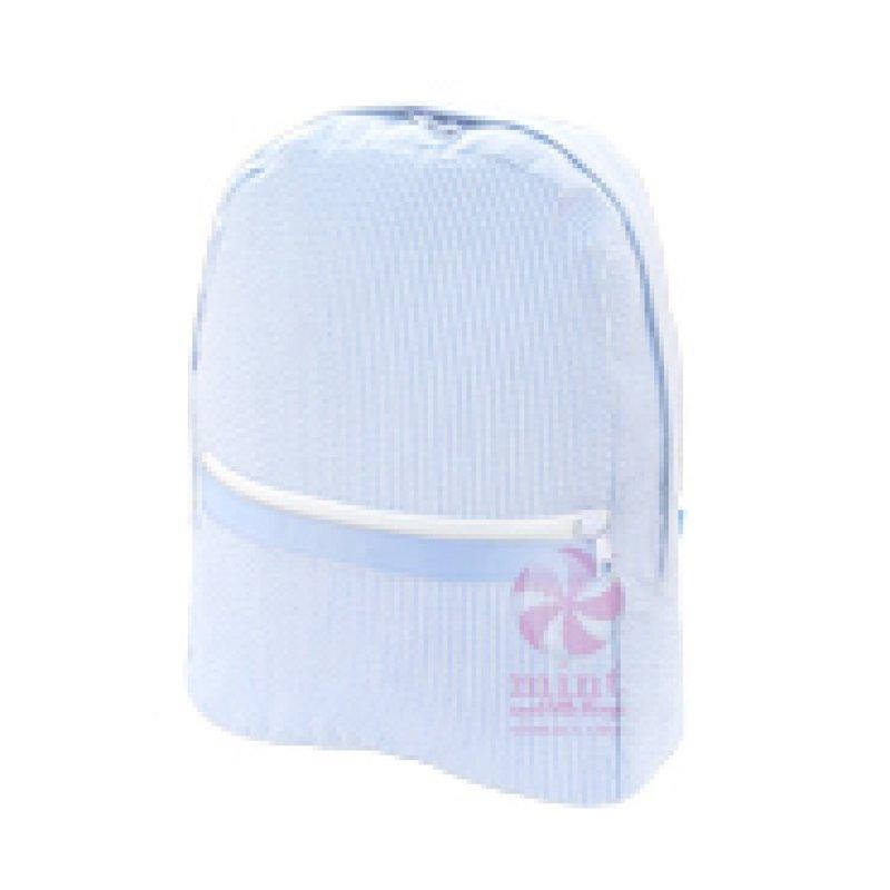 Mint Mint Baby Blue Seersucker Medium Backpack