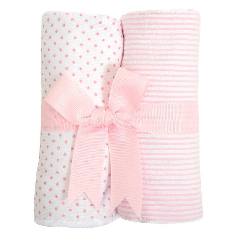 3 Marthas 3 Marthas Pink Bunny Set of Two Burp Cloths