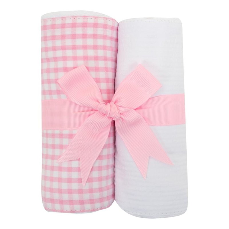 3 Marthas 3 Marthas Pink Check Set of Two Burp Cloths