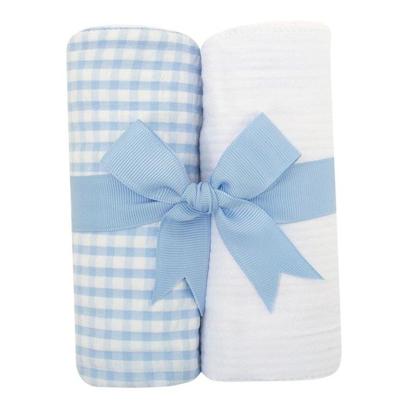 3 Marthas 3 Marthas Blue Check Set of Two Burp Cloths