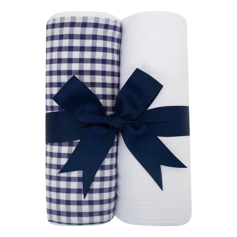 3 Marthas 3 Marthas Navy Check Set of Two Burp Cloths