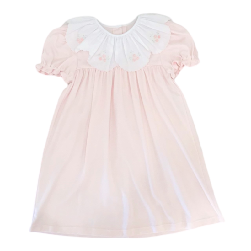 Auraluz Auraluz Pink SS Emb Flower Dress