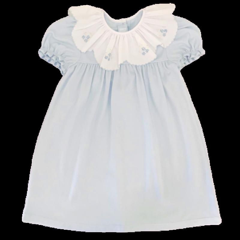 Auraluz Auraluz Blue SS Emb Flower Dress
