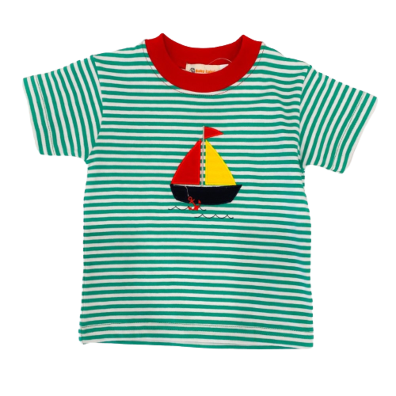 Luigi Luigi Green Stripe Sailboat T-Shirt