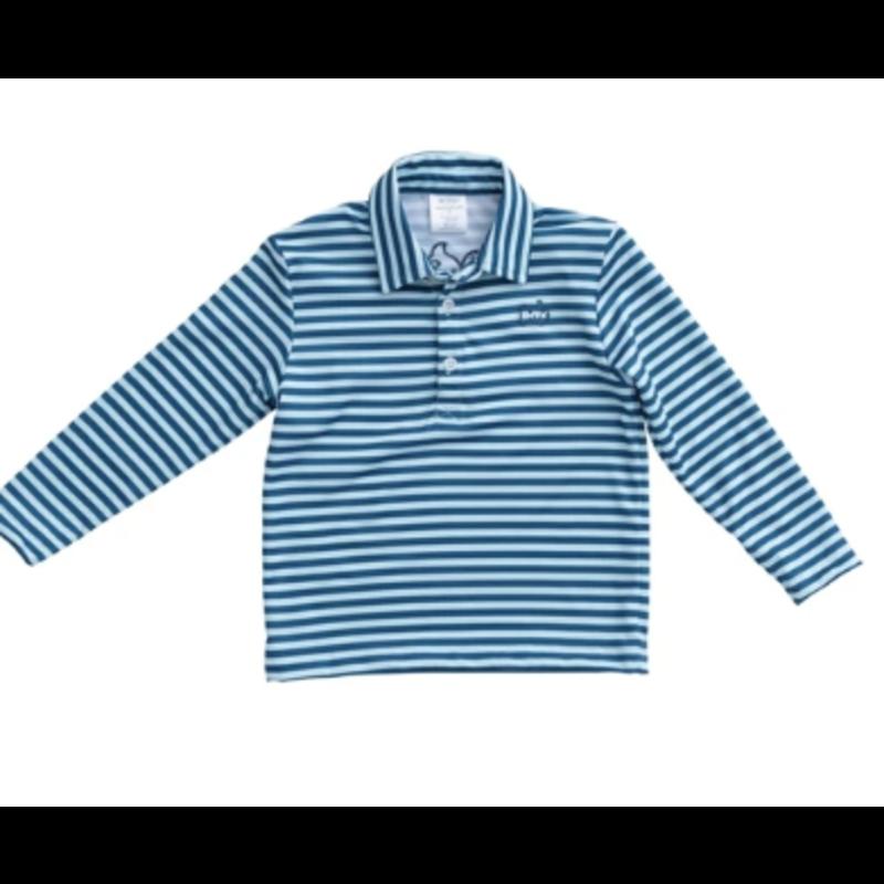 PRODOH Prodoh Striped Preformance Polo Long Sleeve- Blue Light