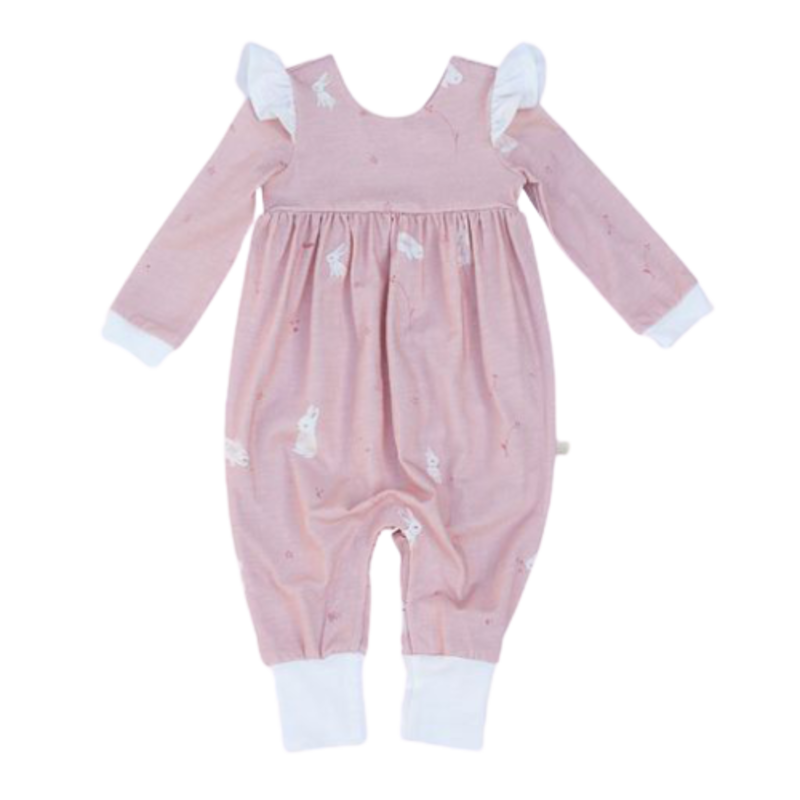 Charming Mary Charming Mary Flutter Romper-Snow Bunnies