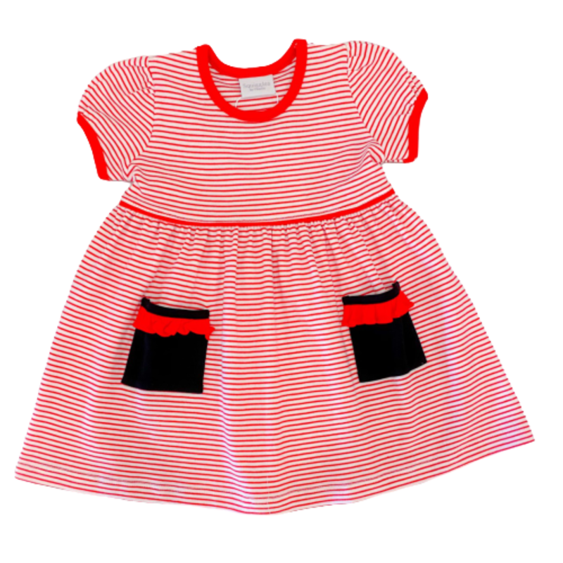 Squiggles Squiggles Red Cheerleader Popover Dress