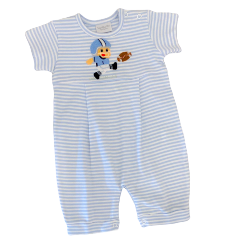Squiggles Squiggles Light Blue Football Kicker Romper