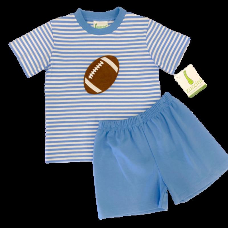 Zuccini Zuccini Boy Football Striped Party Blue T-Shirt