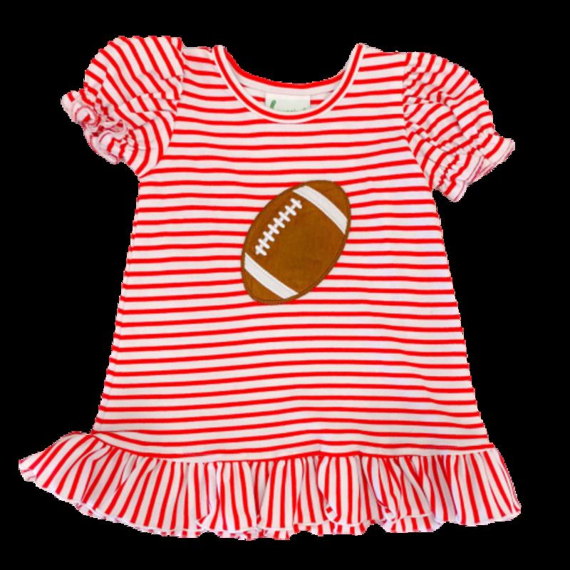 Zuccini Zuccini Football SS Striped Red Ruffled Dress