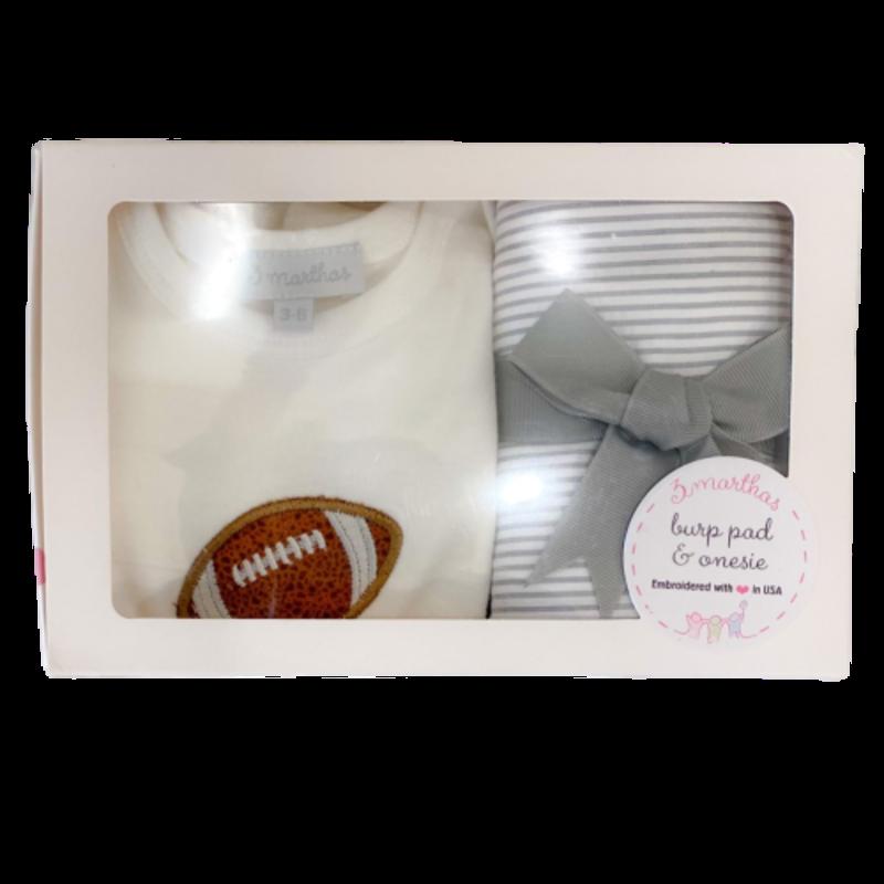 3 Marthas 3 Marthas Football Onesie & Burp Box Set
