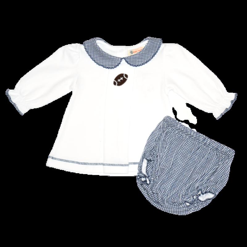 Luigi Luigi Girl Crochet Football Navy Gingham 2pc Set