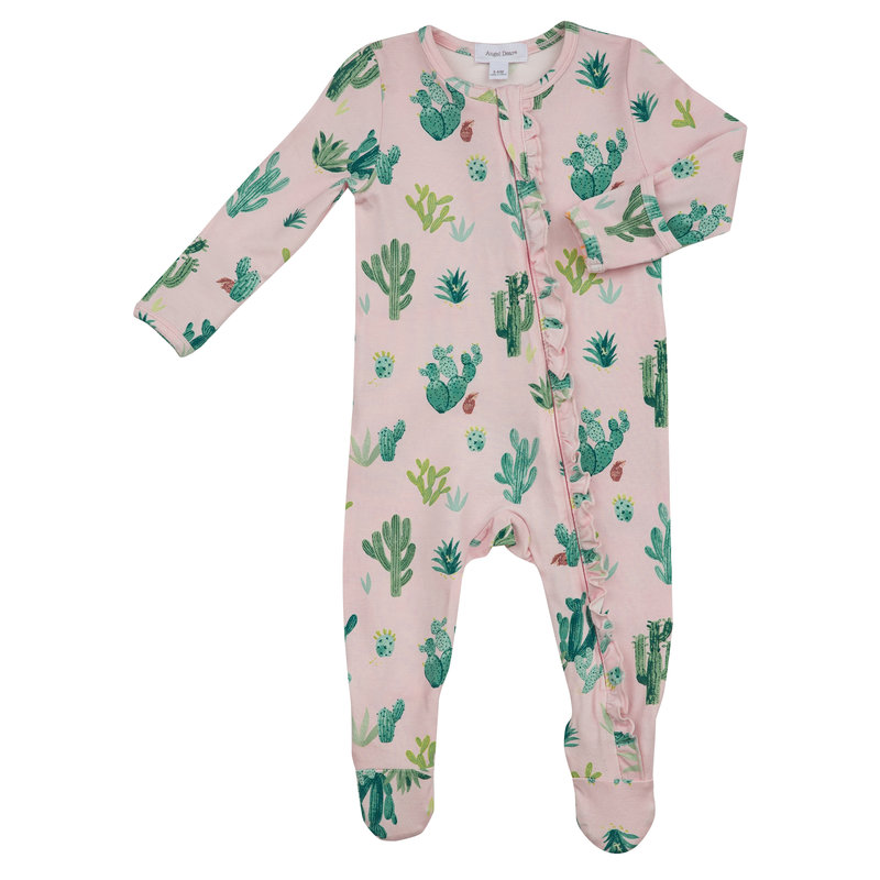 Angel Dear Angel Dear Cactus Ruffle Front Zipper Footie Pink