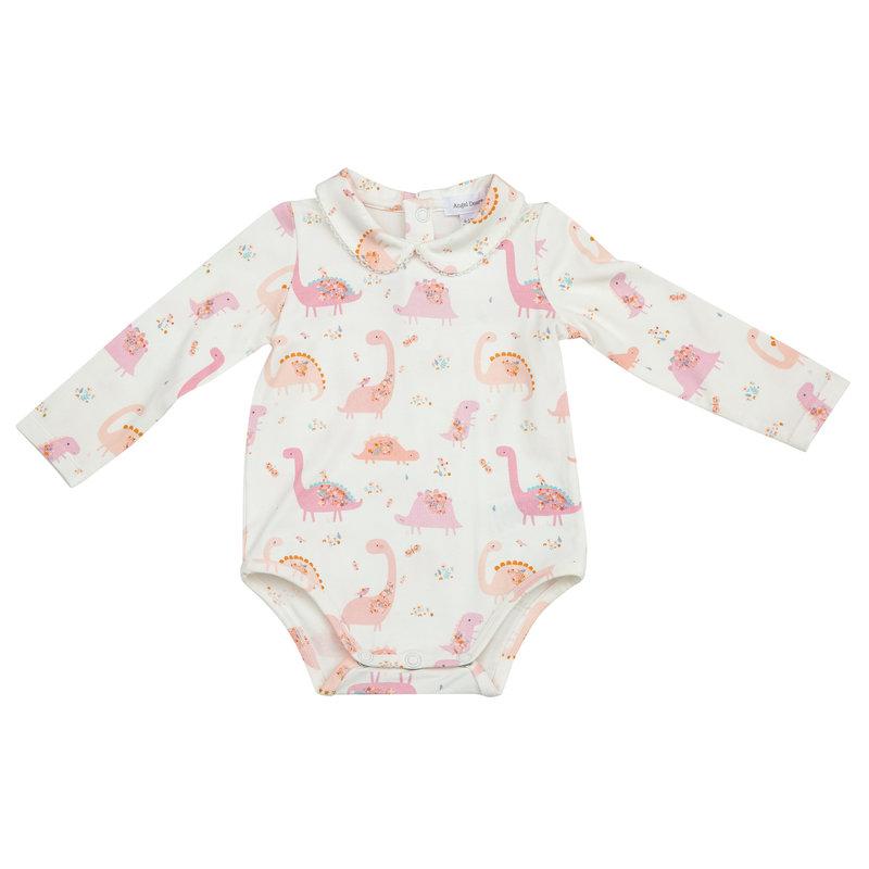 Angel Dear Angel Dear Florals Dinos Pink Peter Pan Collar Bodysuit